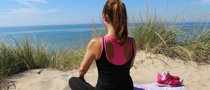 Girl Yoga Exercise Beach Woman Sand Meditation