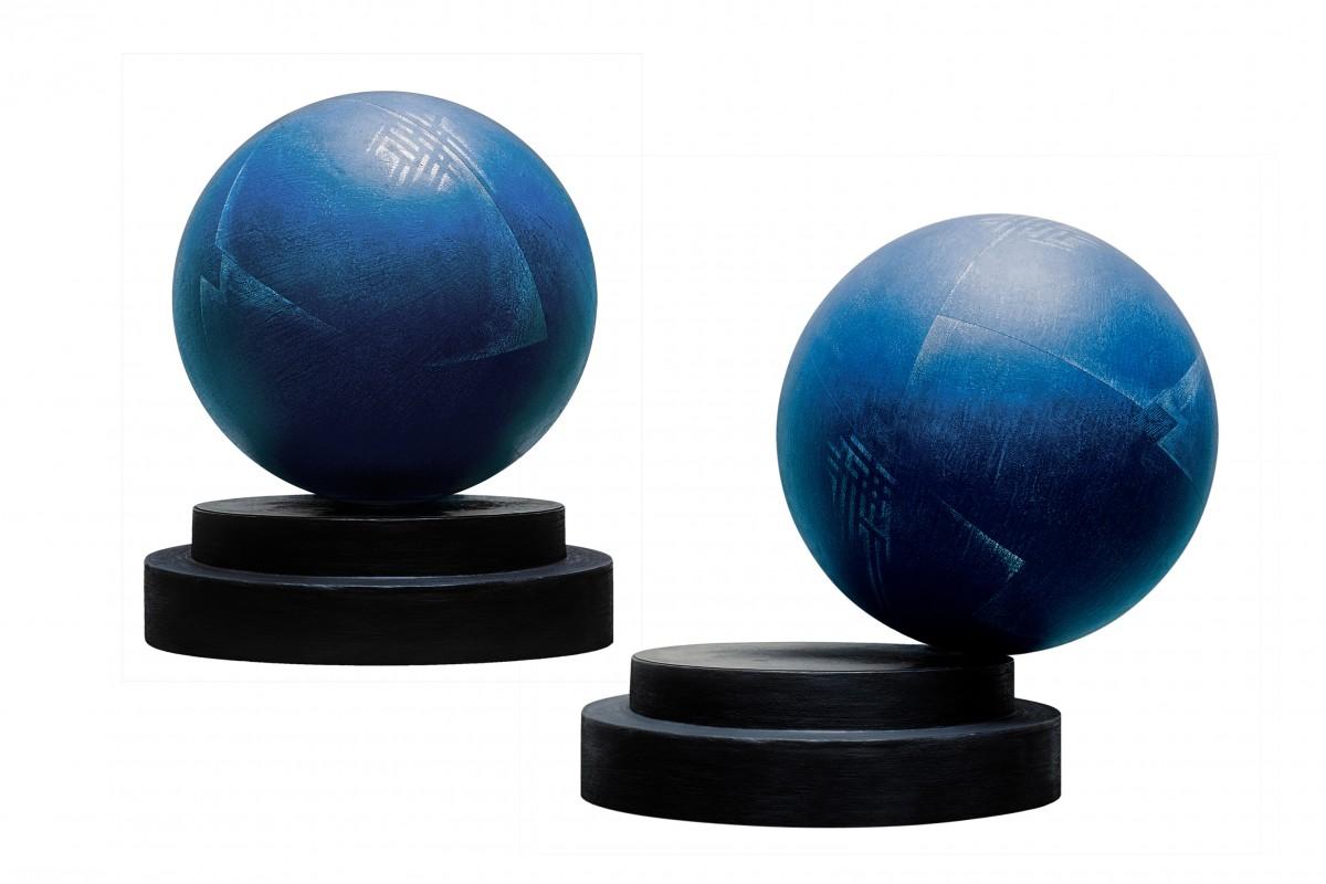 Jacques Bedel, Res Vitae, 1995 - Aluminio electrolítico sobre esfera hueca con sobrepeso, c. 96 cm