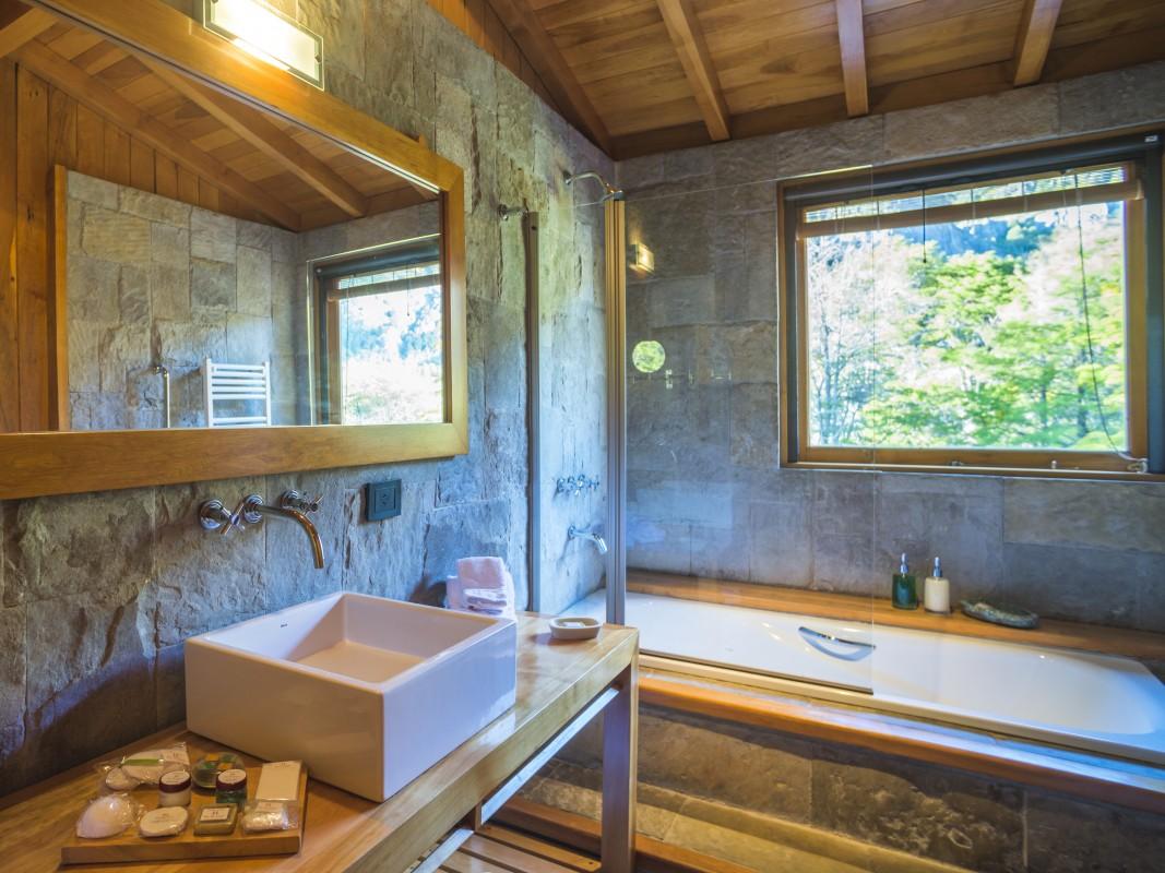 Bathroom at Rio Hermoso Hotel de Montana, San Martin de los Andes, Neuquen Province, Argentinian Patagonia, Argentina