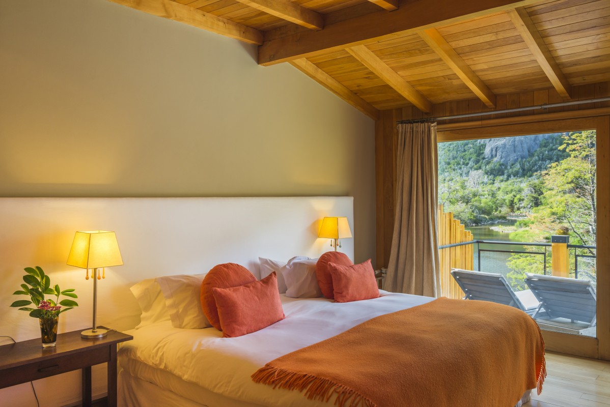 Bedroom at Rio Hermoso Hotel de Montana, San Martin de los Andes, Neuquen Province, Argentinian Patagonia, Argentina