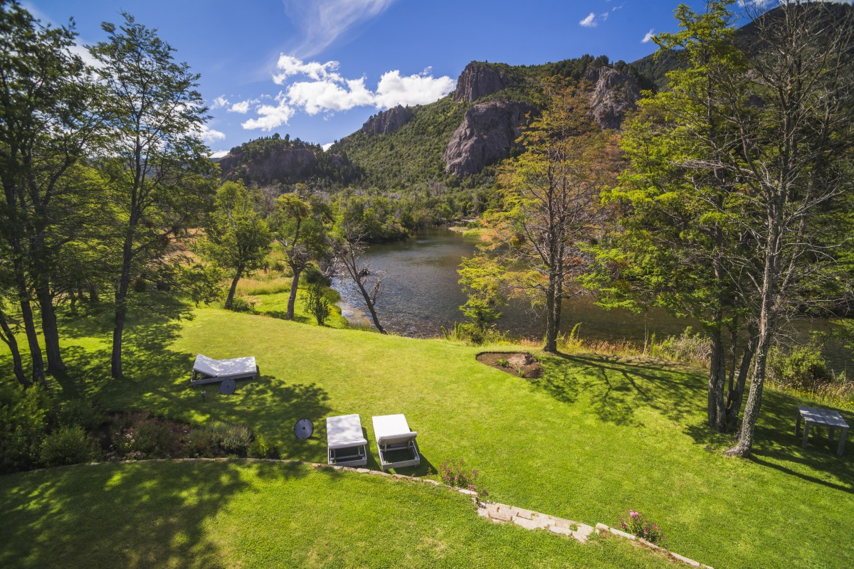 Garden at Rio Hermoso Hotel de Montana, San Martin de los Andes, Neuquen Province, Argentinian Patagonia, Argentina