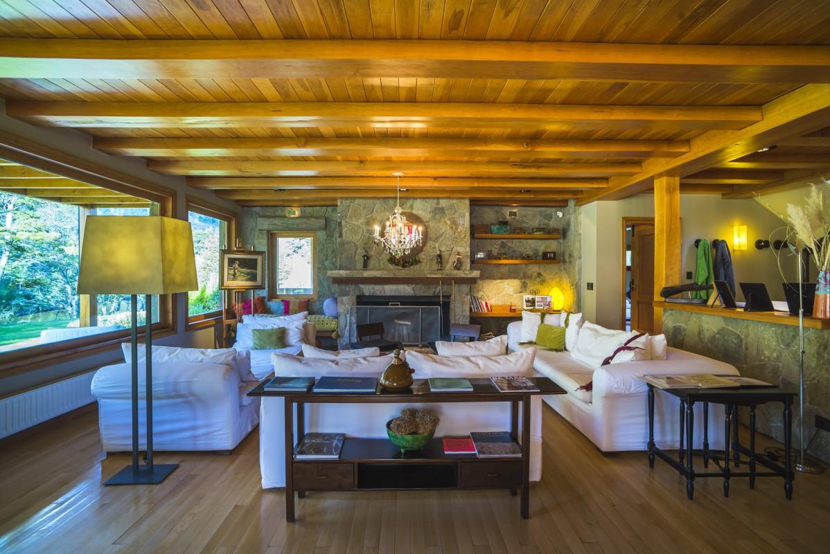 Sitting room at Rio Hermoso Hotel de Montana, San Martin de los Andes, Neuquen Province, Argentinian Patagonia, Argentina