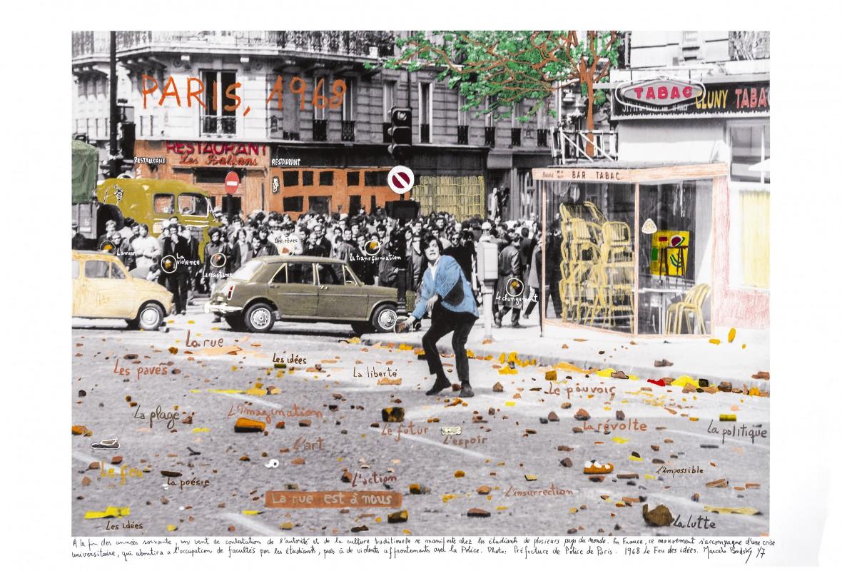 Marcelo Brodsky, 1968, El fuego de las Ideas, París, 1968, fotografía de archivo en B&N (Paris Police Archive,1968) interv. con txts a mano por M Brodsky, 2018, medidas variables, edición 7 + 2AP